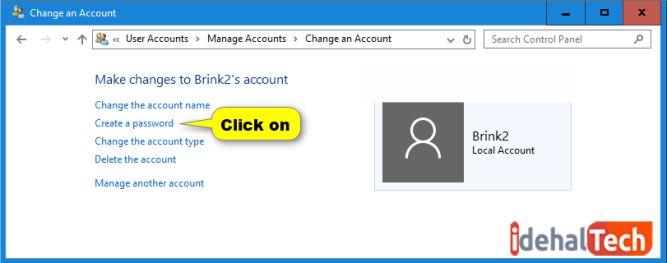 روی گزینه create password کلیک کنید