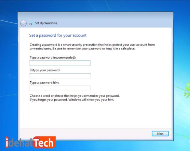 ایجاد پسورد برای ویندوز 7 در زمان نصب