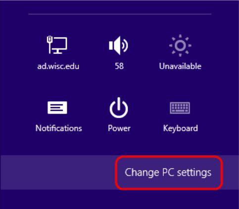 روی change pc setting کلیک کنید