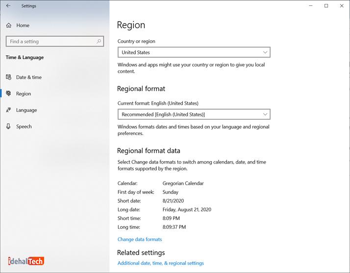 تغییر region در ویندوز 10