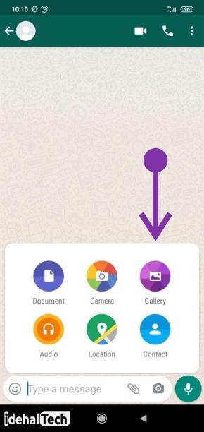 ارسال فیلم و عکس در واتساپ به روش معمولی