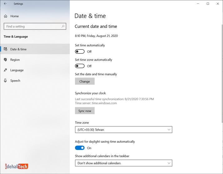تغییر تاریخ و زمان در ویندوز 10