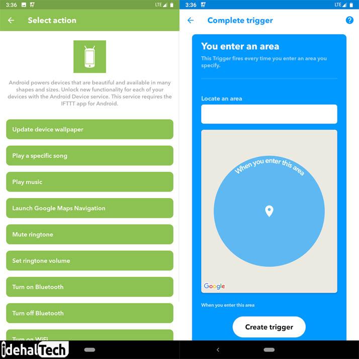 اپلیکسشن اندرویدی IFTTT+اتوماتیزه کردن گوشی اندرویذ