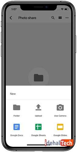 ایجاد فایل جدید در گوگل درایو