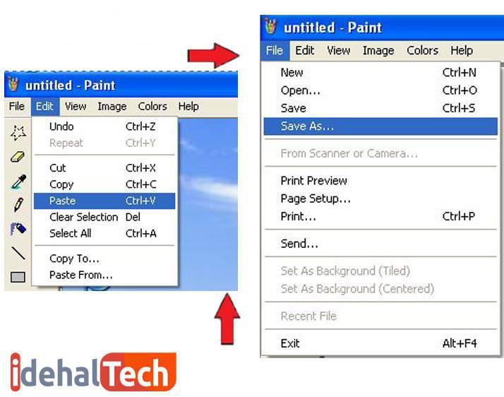 ذخیره اسکرین شات در نرم افزار paint