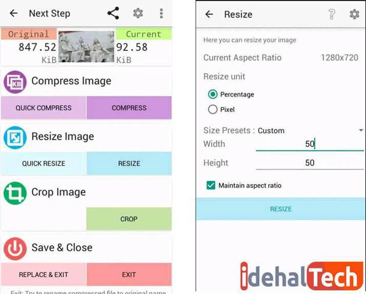 تغییر اندازه عکس با اپلیکیشن اندرویدی photo-compress-2