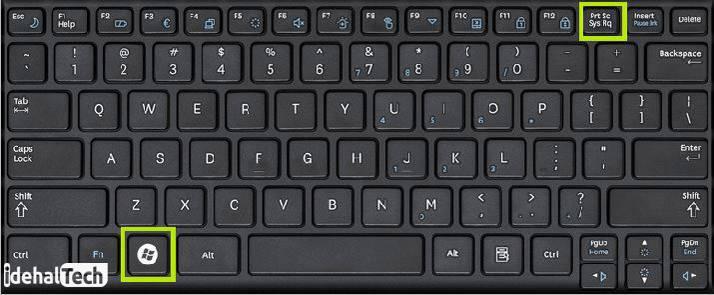 مکان print screen+windows روی صفحه کلید