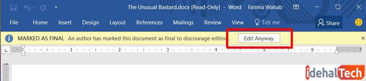 پیام اخطار Edit-Anyway در آفیس ورد-ویرایش فایل دارای برچسب نسخه نهایی