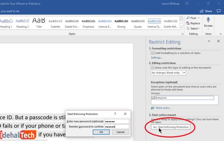 رمزگذاری در فایل ورد