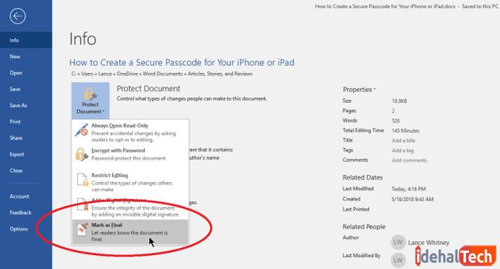 امنیت در فایل های ورد-علامتگذاری فایل به عنوان نسخه نهایی