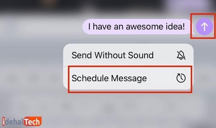 گزینه «Schedule Message» در مسیج زمان دار در تلگرام