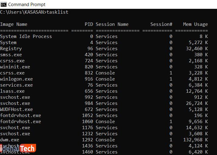 دستور Tasklist در کدهای cmd