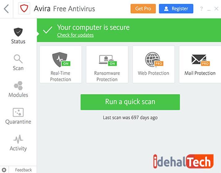 صفحه اصلی ویروس کش آویرا