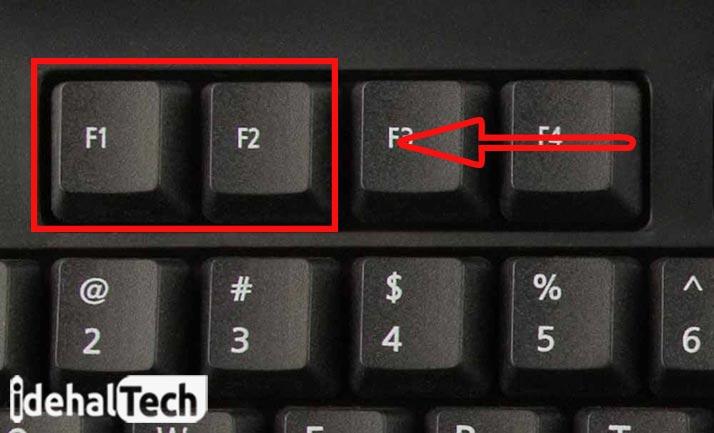 کلید های f1 و f2 برای ورود به بایوس