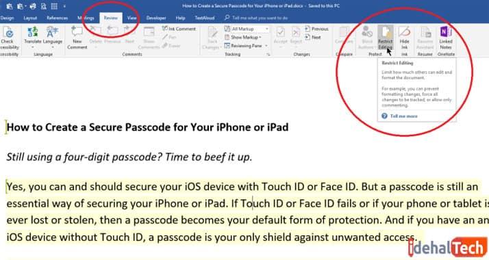 غیرفعال کردن محدودیتهای ویرایشی در آفیس ورد-آموزش رمز گذاشتن روی فرمت doc