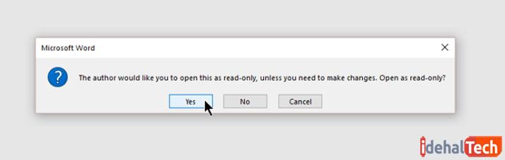 پیام اخطار هنگام باز کردن فایل read only