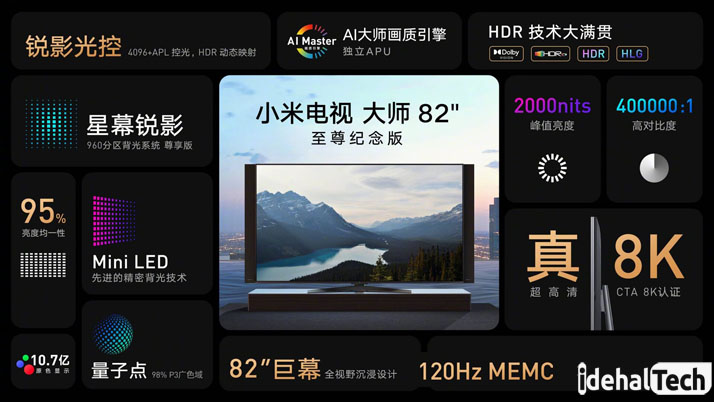 مشخصات تلویزیون 8k شیائومی mini led
