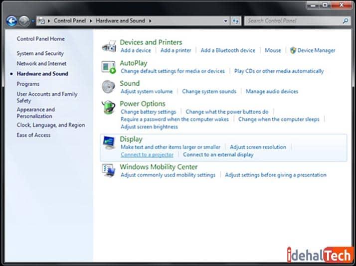 اتصال لپ تاپ به ویدیو پروژکتور در ویندوز 7