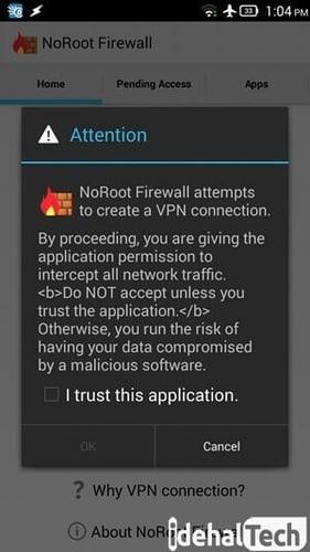 پیغام درخواست اتصال به VPN