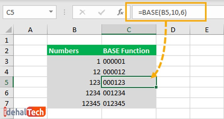 نوشتن صفر آغازین در اکسل- استفاده از تابع BASE