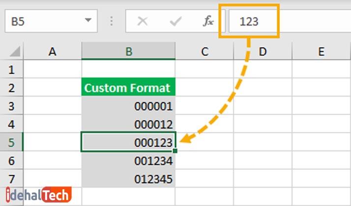 چگونه در اول عدد صفر بنویسیم- فرمت سفارشی2