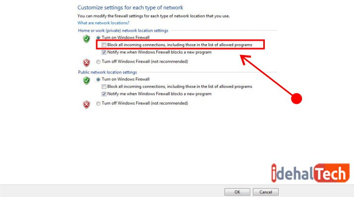 مسدود کردن فایروال برای کلیه اتصالات