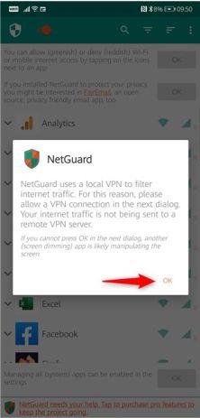 netguard از یک vpn محلی استفاده میکند