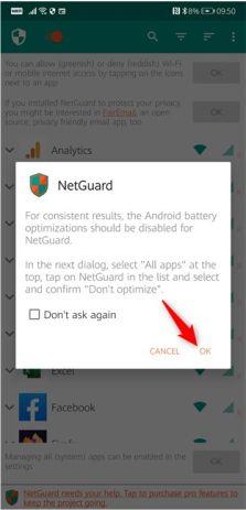 بهینه سازی باتری برای netguard را غیر فعال کنید