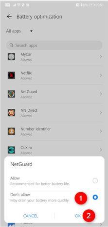در صفحه بهینه سازی باتری، برنامه Netguard را انتخاب کنید