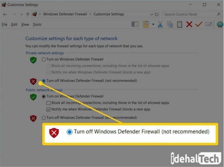 در پنجره «Firewall Settings»، گزینه «Off» را انتخاب کنید
