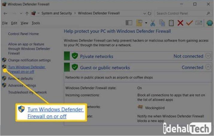 گزینه «Change Setting» یا «Turn Windows Firewall on or off»