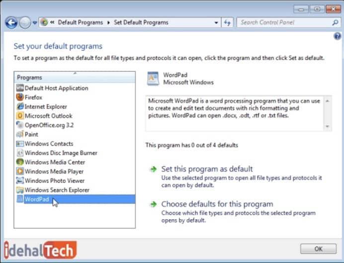 برنامههایی که ویندوز به طور پیش فرض استفاده میکند را انتخاب کنید