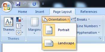 تغییر جهت نوشتن در ورد- landscape