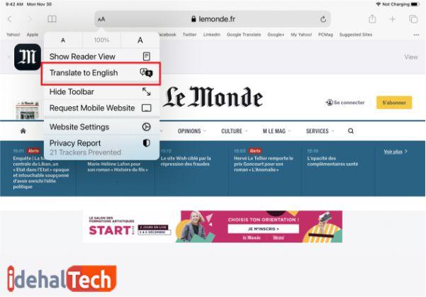 تغییر زبان سایت ها در سافاری