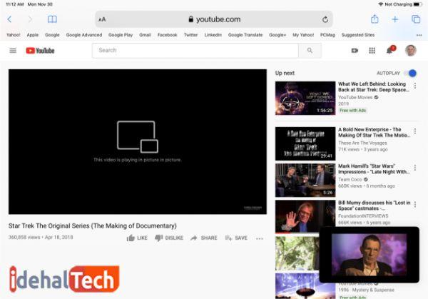 مشاهده ویدیوها به صورت تصویر در تصویر