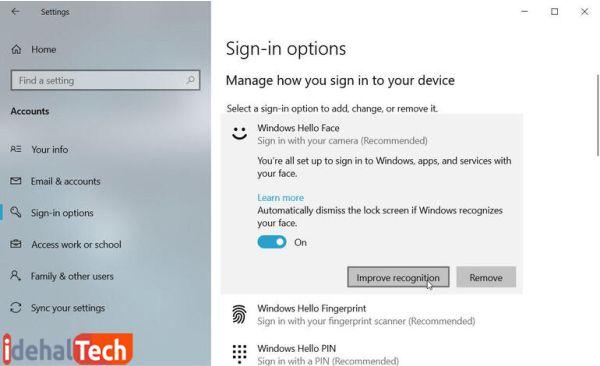 بازیابی قابلیت تشخیص جهره در ویندوز 10