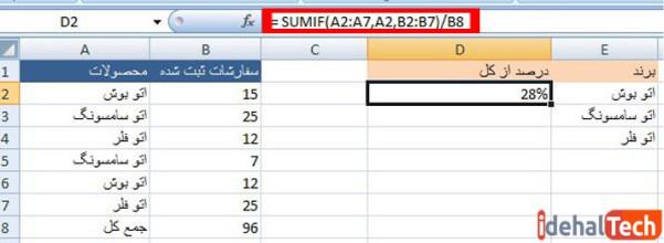 وارد کردن فرمول در تابع sumf