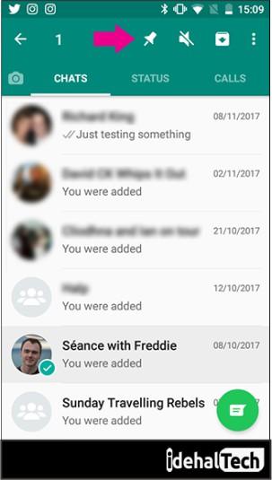 انتخاب صفحه چت در واتساپ