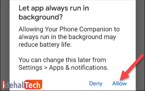 اجرای برنامه your phone در پس زمینه موبایل