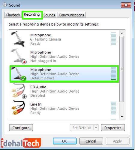 انجام تنظیمات ضبط صدا در ویندوز