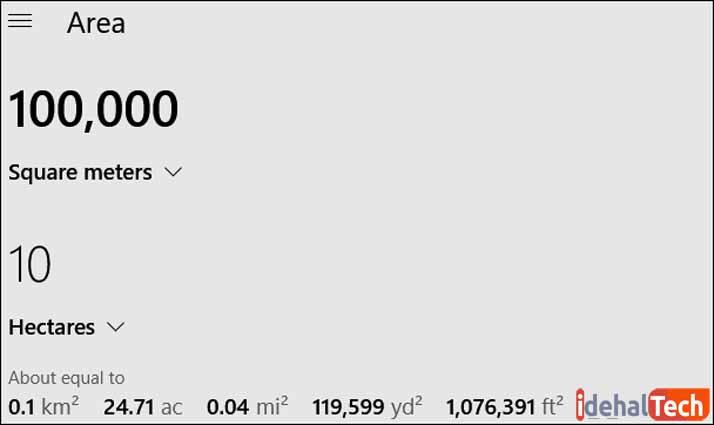 تبدیل مترمربع به هکتار در ماشین حساب ویندوز 10
