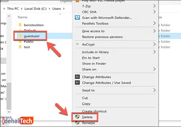 حذف پروفایل کاربری از درایو C