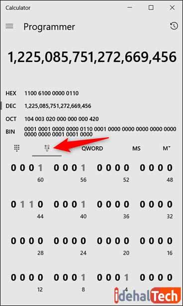 ماشین حساب برنامه نویسی ویندوز 10 -محاسبه اعداد صحیح 16 تا 64 بیتی