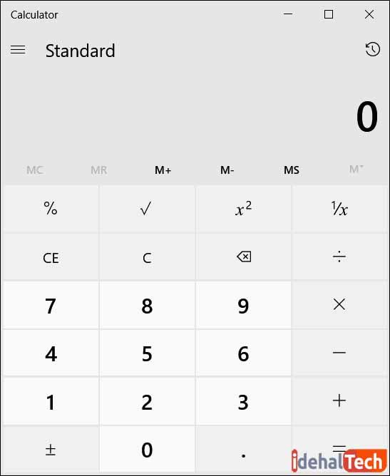 کار با ماشین حساب در ویندوز 10- حالت استاندارد (Standard)