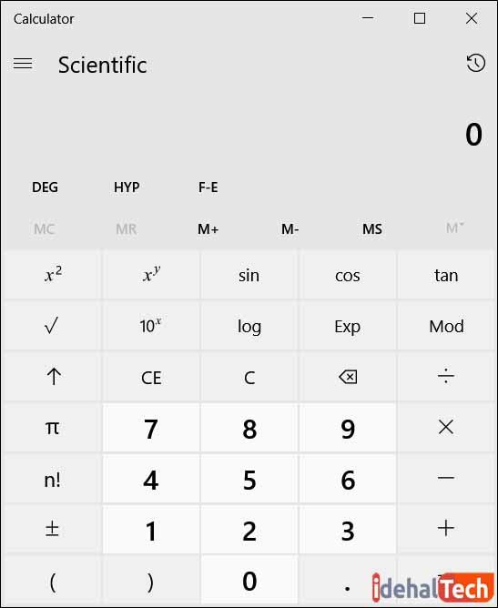 کار با ماشین حساب در ویندوز 10- حالت علمی