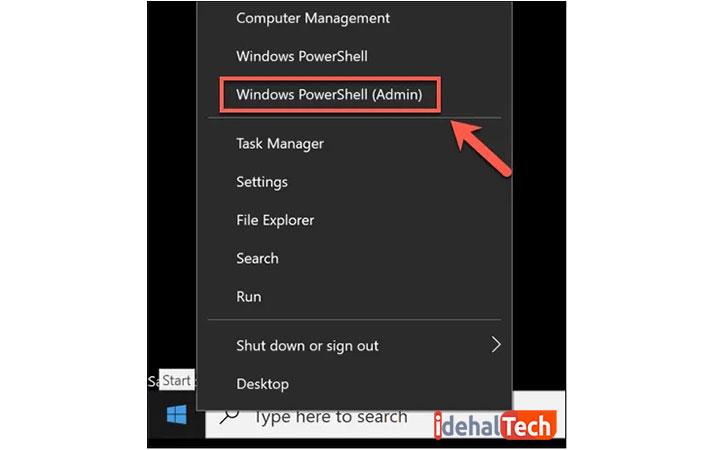 Windows PowerShell (Admin) را انتخاب کنید
