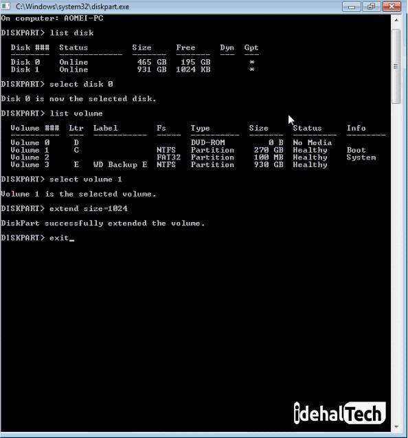 افزایش فضای ویندوز با diskpart