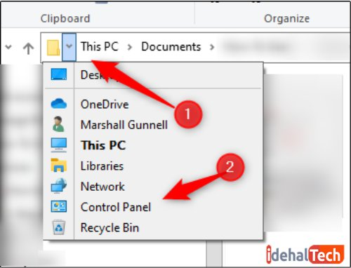 از منوی نوار آدرس File Explorer استفاده کنید