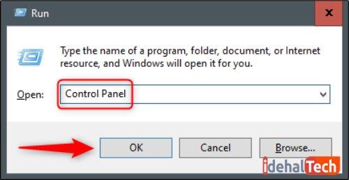 برای باز کردن کنترل پنل از پنجره Run استفاده کنید