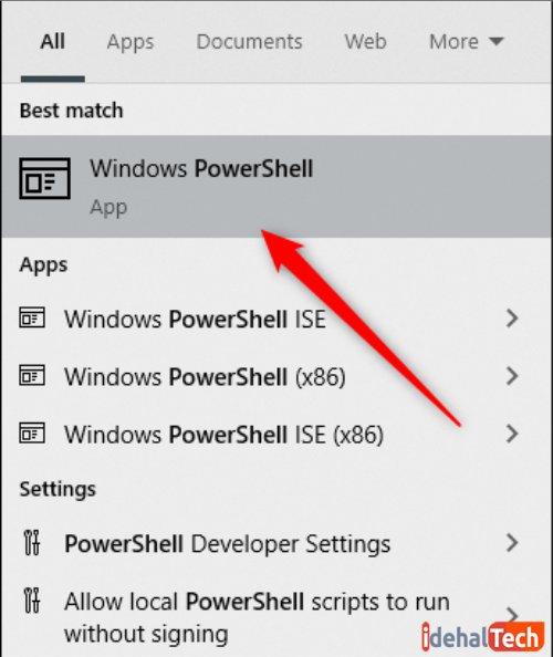 """گزینه """"Windows PowerShell"""" را انتخاب کنید تا پنجره آن باز شود"""